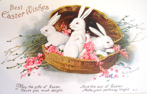 Free-vintage-easter-card-three-white-bunnies-in-a-basket